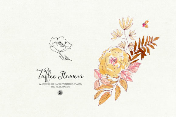 Watercolor Toffee Flowers Graphic By webvilla Image 2