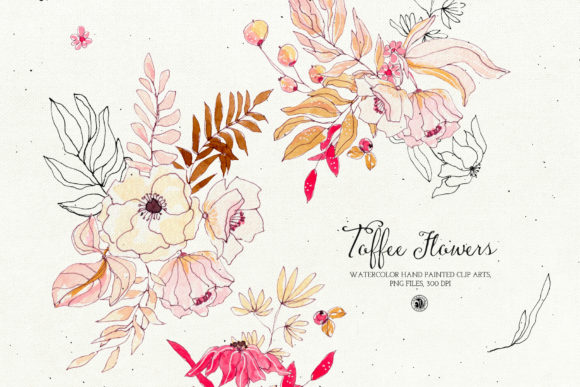 Print on Demand: Watercolor Toffee Flowers Graphic Illustrations By webvilla