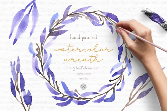 Print on Demand: Watercolor Wreath Clipart Graphic Illustrations By Wallifyer