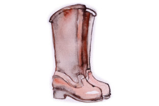 Watercolour Maroon Wellie Boots Craft Design By Creative Fabrica Crafts