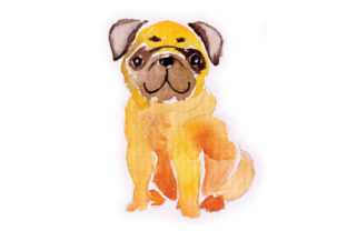 Watercolour Pug Craft Design By Creative Fabrica Crafts