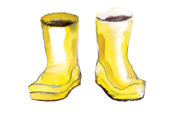 Watercolour Yellow Wellie Boots Spring Craft Cut File By Creative Fabrica Crafts