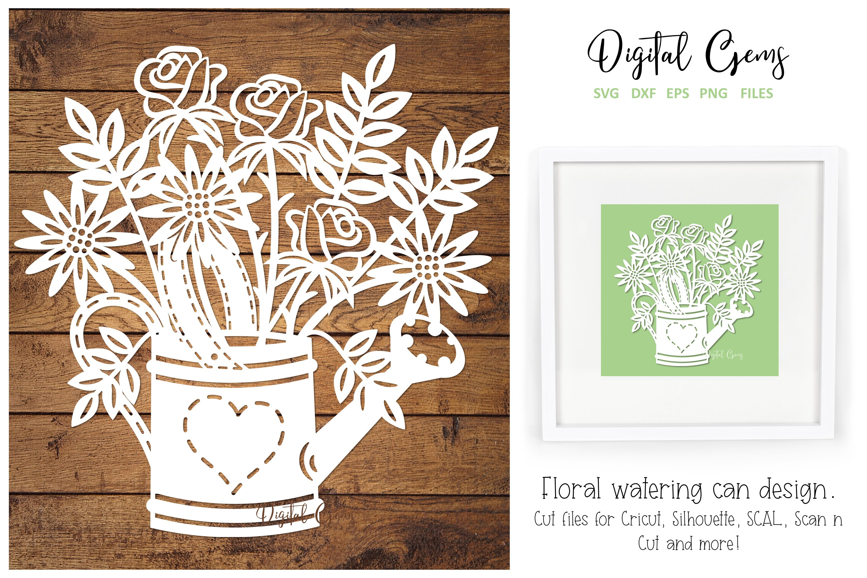 Download Free Watering Can With Flowers Design Graphic By Digital Gems for Cricut Explore, Silhouette and other cutting machines.