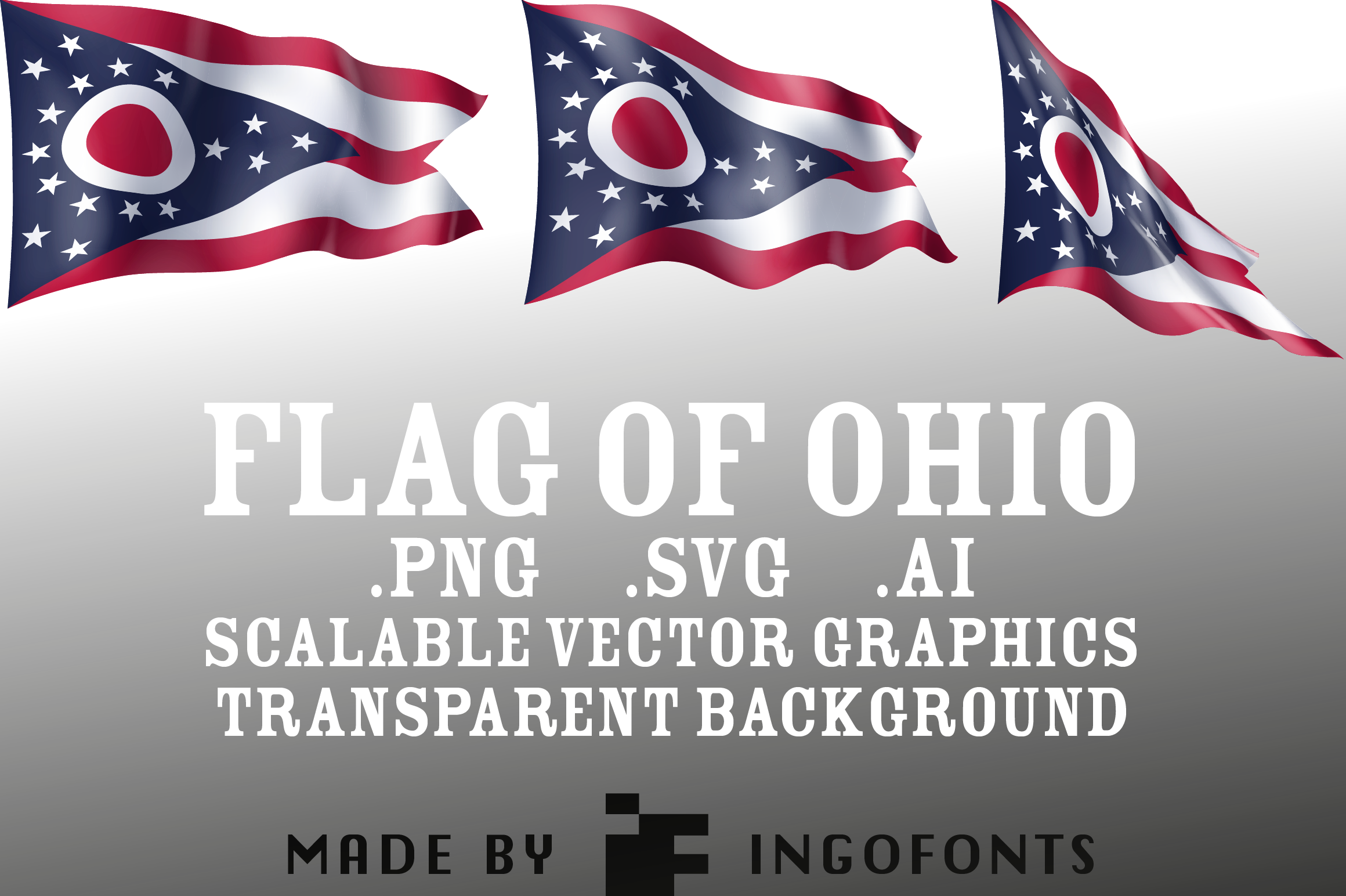 Download Free Waving Flag Of Ohio Graphic By Ingofonts Creative Fabrica for Cricut Explore, Silhouette and other cutting machines.