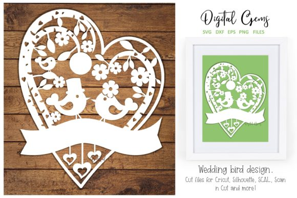 Download Free Wedding Bird Paper Cut Design Graphic By Digital Gems Creative for Cricut Explore, Silhouette and other cutting machines.