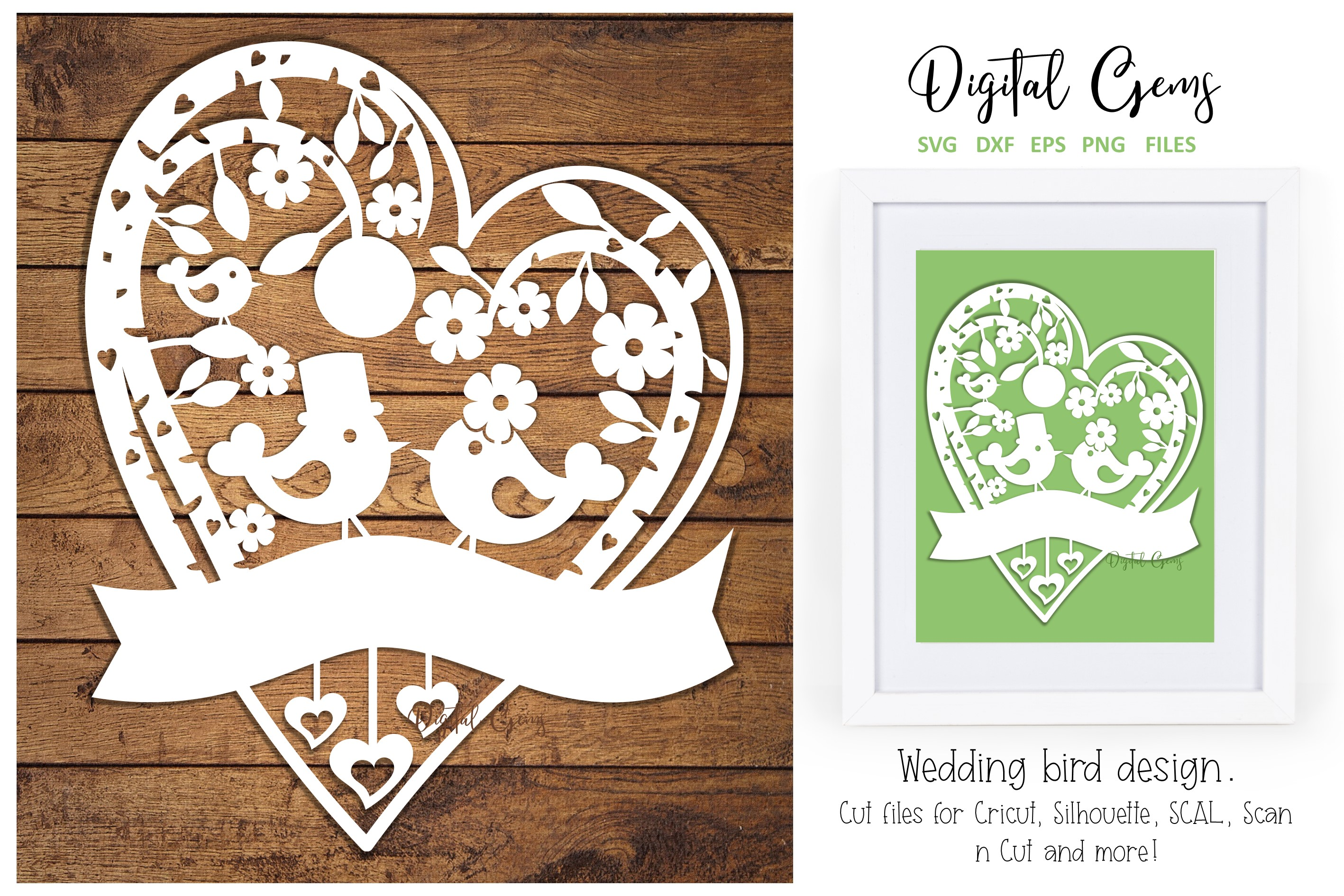 Download Free Wedding Bird Paper Cut Design Graphic By Digital Gems Creative Fabrica for Cricut Explore, Silhouette and other cutting machines.