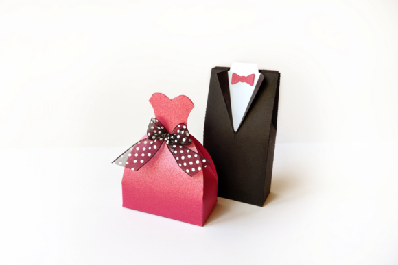 Wedding Dress and Tuxedo Boxes SVG & PDF Graphic 3D Pillow Box By RisaRocksIt - Image 4