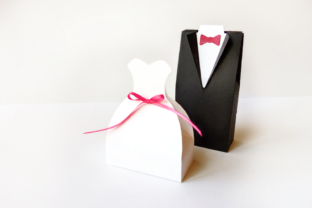 Download Free Wedding Dress And Tuxedo Boxes Svg Pdf Graphic By Risarocksit for Cricut Explore, Silhouette and other cutting machines.