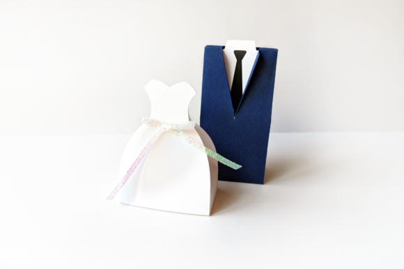 Wedding Dress and Tuxedo Boxes SVG & PDF Graphic 3D Pillow Box By RisaRocksIt - Image 7