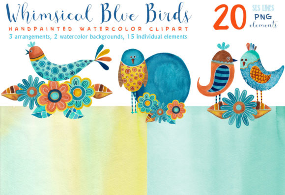 Print on Demand: Whimsical Blue Birds Watercolor Clipart Graphic Illustrations By SLS Lines - Image 2