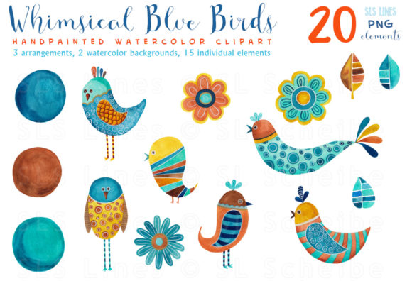 Print on Demand: Whimsical Blue Birds Watercolor Clipart Graphic Illustrations By SLS Lines - Image 3