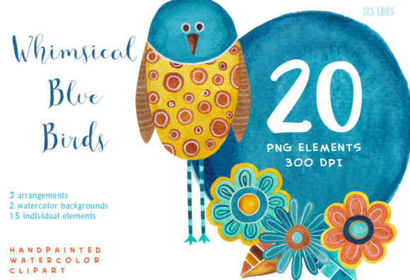 Print on Demand: Whimsical Blue Birds Watercolor Clipart Graphic Illustrations By SLS Lines - Image 4