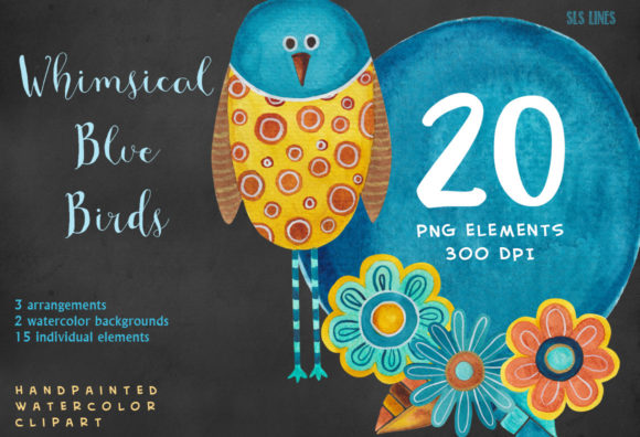 Print on Demand: Whimsical Blue Birds Watercolor Clipart Graphic Illustrations By SLS Lines - Image 5