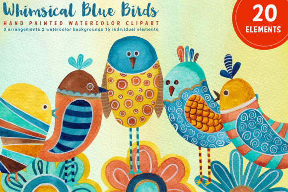 Download Free Whimsical Blue Birds Watercolor Clipart Grafik Von Sls Lines for Cricut Explore, Silhouette and other cutting machines.