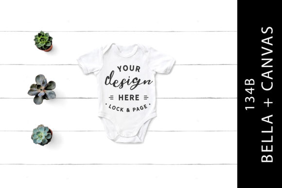 White 134B Bella Canvas Romper Baby Mock Graphic Product Mockups By lockandpage
