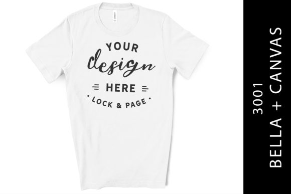White Bella Canvas 3001 T-Shirt Flat Lay Graphic Product Mockups By lockandpage