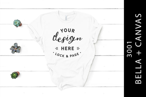 White Bella Canvas 3001 T-Shirt Mockup Graphic Product Mockups By lockandpage