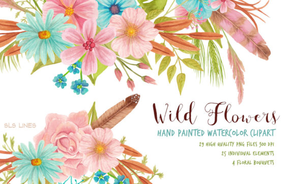 Print on Demand: Wild Meadow Flowers Watercolor Clipart Graphic Illustrations By SLS Lines