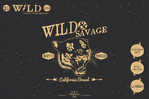 Wild Vintage Badges Graphic Logos By inumocca_type - Image 2