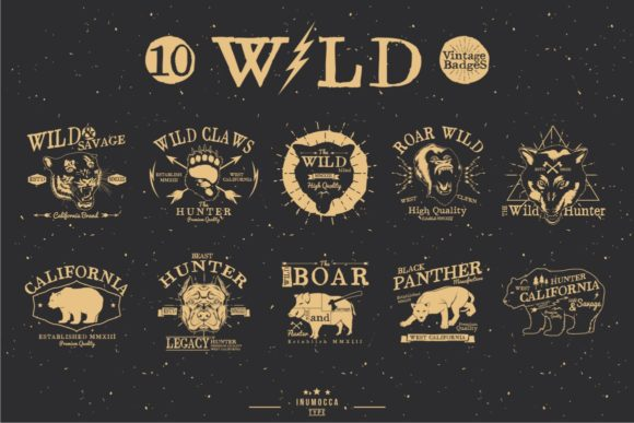 Wild Vintage Badges Graphic Logos By inumocca_type - Image 3