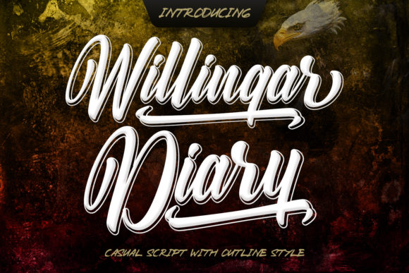 Print on Demand: Willingar Diary Display Font By Kotak Kuning Studio