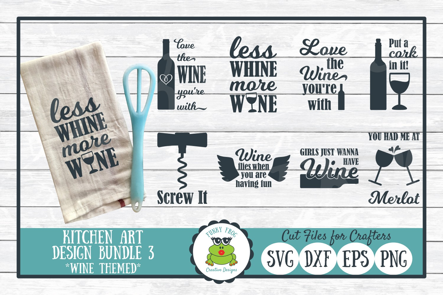 Download Free Wine Pun Kitchen Art Bundle Graphic By Funkyfrogcreativedesigns for Cricut Explore, Silhouette and other cutting machines.