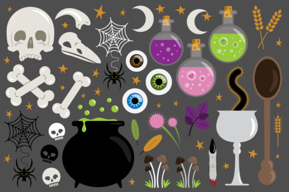 Download Free Witches Kitchen Clip Art Set Graphic By Running With Foxes for Cricut Explore, Silhouette and other cutting machines.