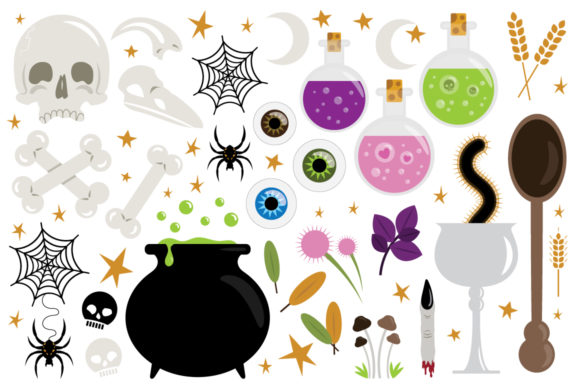 Print on Demand: Witches Kitchen Clip Art Set Graphic Illustrations By Running With Foxes