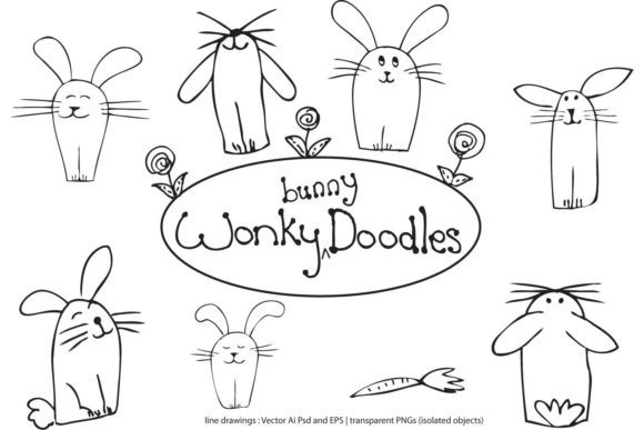 Download Free Wonky Bunny Doodles Graphic By Curious Kitten Creative Fabrica for Cricut Explore, Silhouette and other cutting machines.