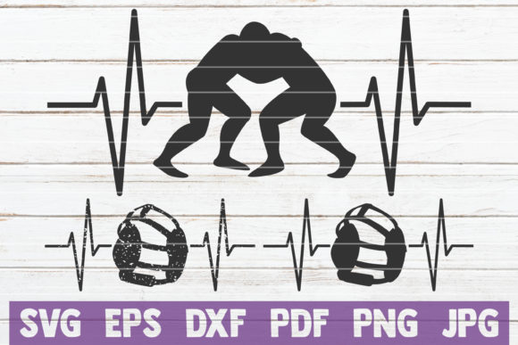 Download Free Wrestling Heartbeat Cut Files Graphic By Mintymarshmallows for Cricut Explore, Silhouette and other cutting machines.