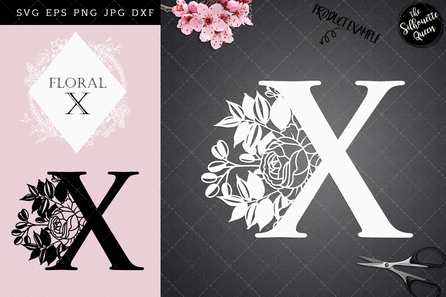 Download Free X Floral Letter Design Graphic By Thesilhouettequeenshop for Cricut Explore, Silhouette and other cutting machines.