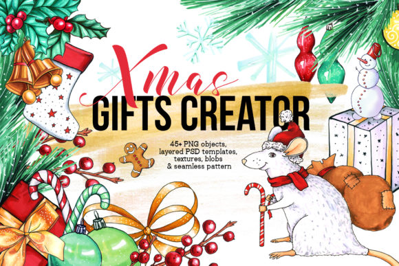 Xmas Gifts Creator - 2020 Clipart Graphic By ilonitta.r