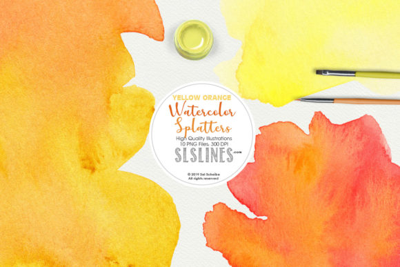 Print on Demand: Yellow Orange Watercolor Splatter Shapes Graphic Illustrations By SLS Lines