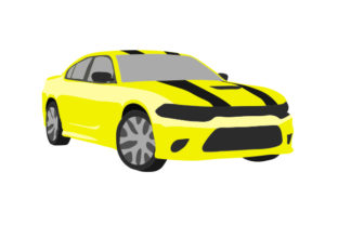 Yellow Sports Car with Black Stripes Craft Design By Creative Fabrica Crafts