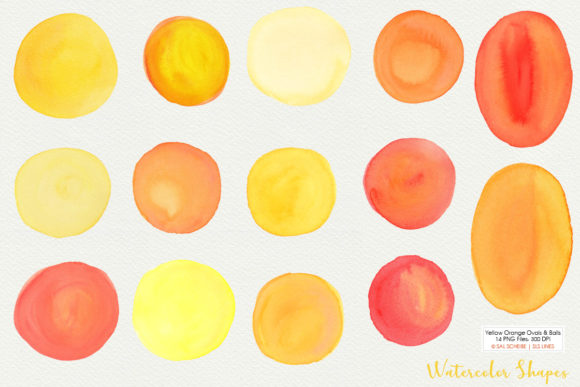 Download Free Yellow Watercolor Balls Ovals Shapes Graphic By Sls Lines for Cricut Explore, Silhouette and other cutting machines.