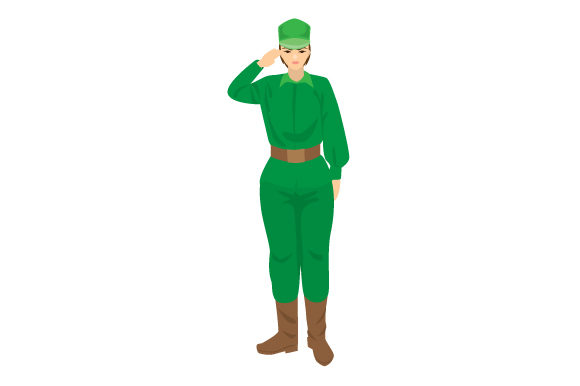 Young Military Woman Saluting Military Craft Cut File By Creative Fabrica Crafts - Image 1