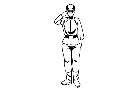 Young Military Woman Saluting Military Craft Cut File By Creative Fabrica Crafts - Image 2