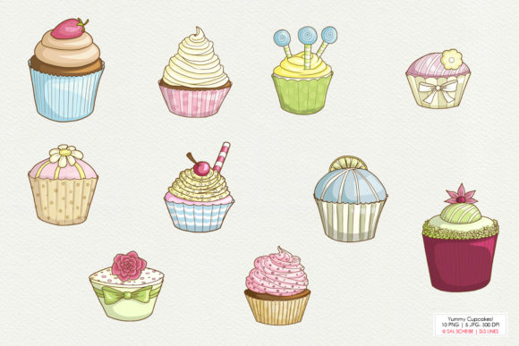 Print on Demand: Yummy Graphic Cupcakes in Pastel Colors Graphic Illustrations By SLS Lines - Image 2
