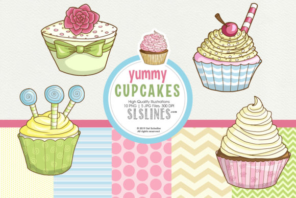 Print on Demand: Yummy Graphic Cupcakes in Pastel Colors Graphic Illustrations By SLS Lines