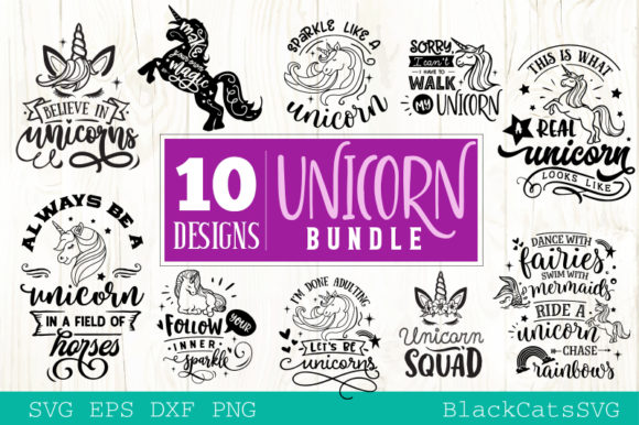 Download Free The Unicorn Pack Graphic By Blackcatsmedia Creative Fabrica for Cricut Explore, Silhouette and other cutting machines.