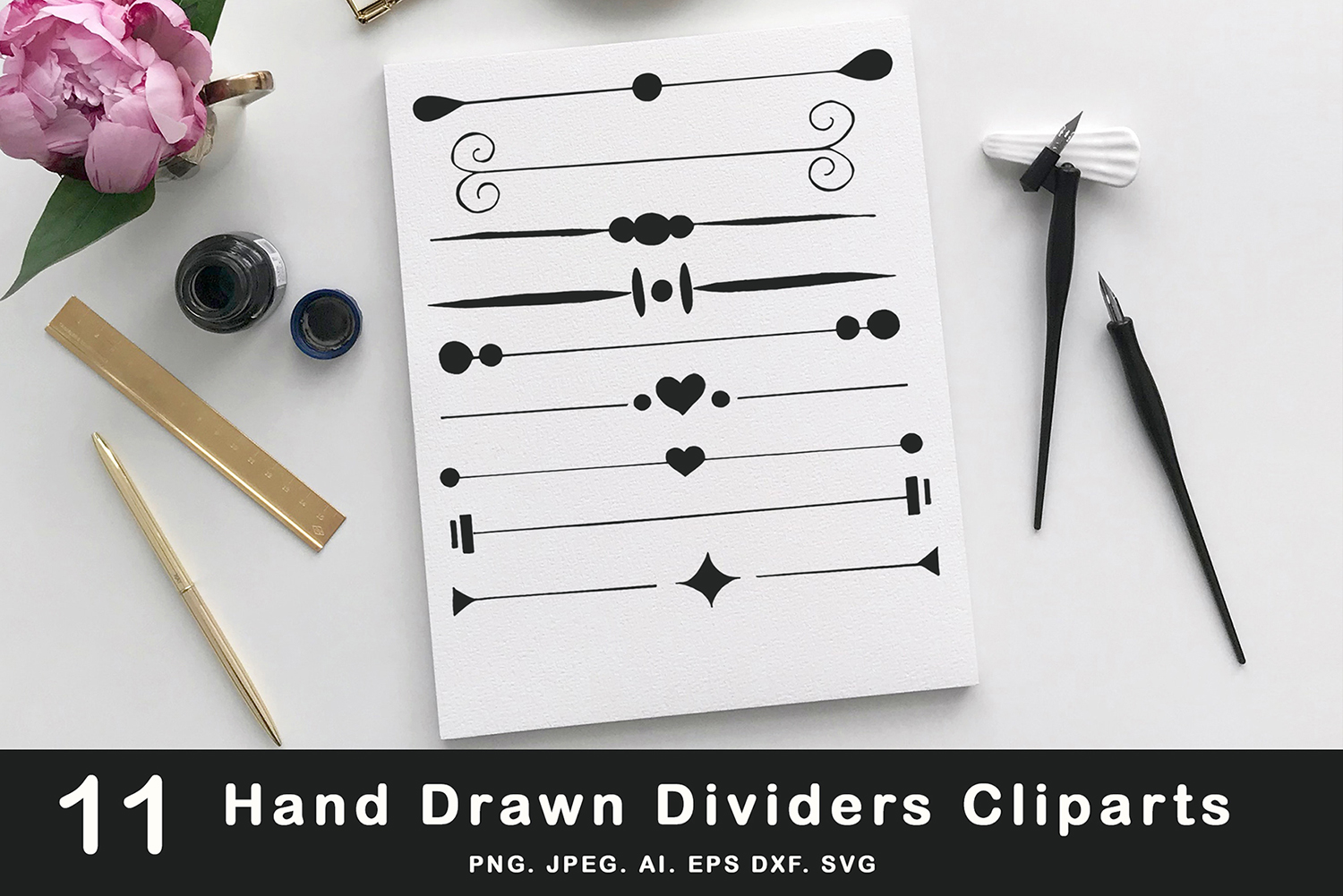 Download Free 10 Hand Drawn Dividers Cliparts Graphic By Creative Tacos for Cricut Explore, Silhouette and other cutting machines.