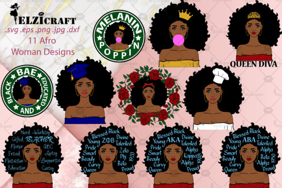 Download Free 11 Afro Woman Designs Bundle Graphic By Elzicraft Creative Fabrica SVG Cut Files
