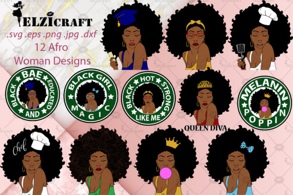 12 Afro Woman Designs Bundle Graphic Crafts By elzicraft