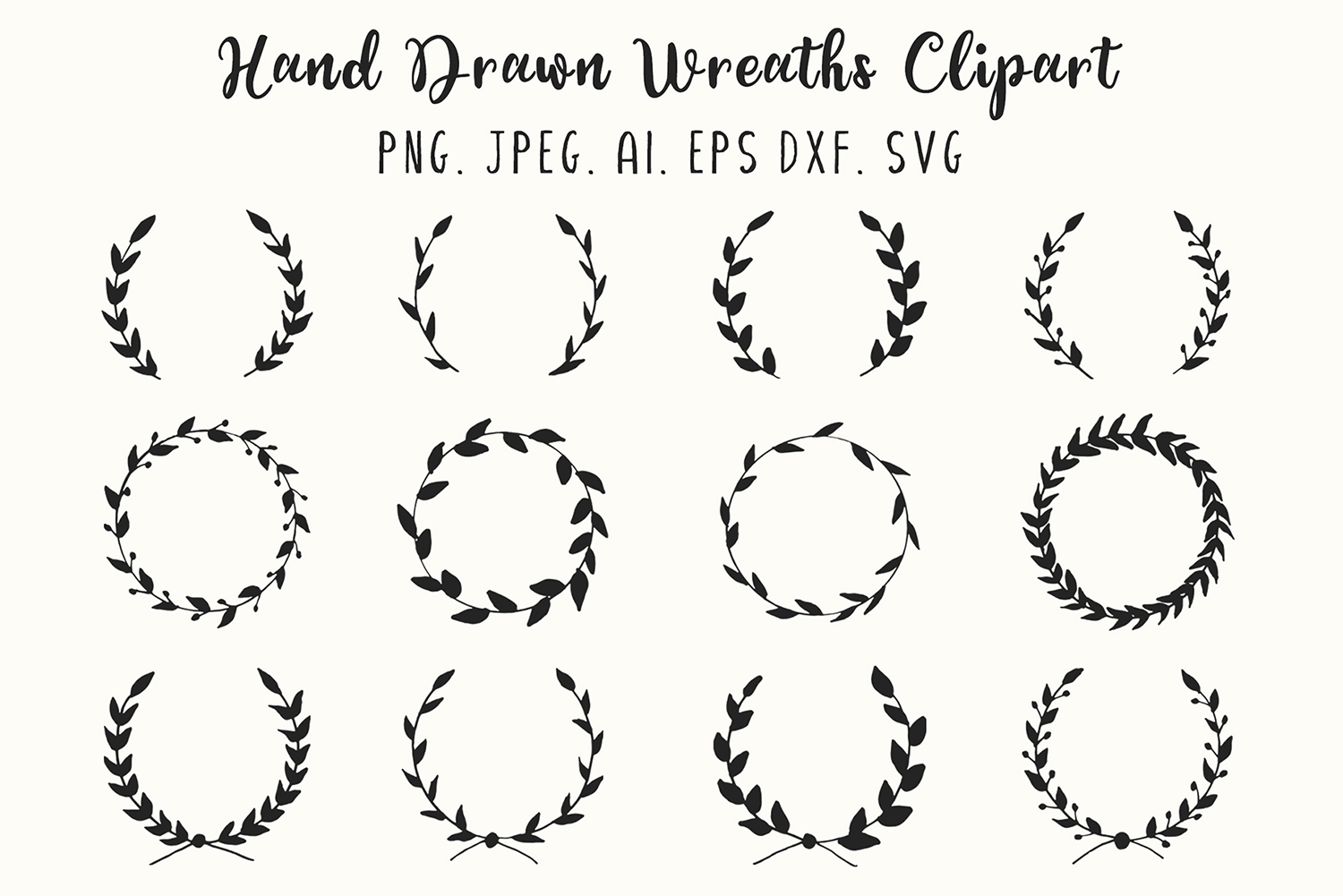 Download Free 12 Hand Drawn Wreaths Clipart Graphic By Creative Tacos for Cricut Explore, Silhouette and other cutting machines.