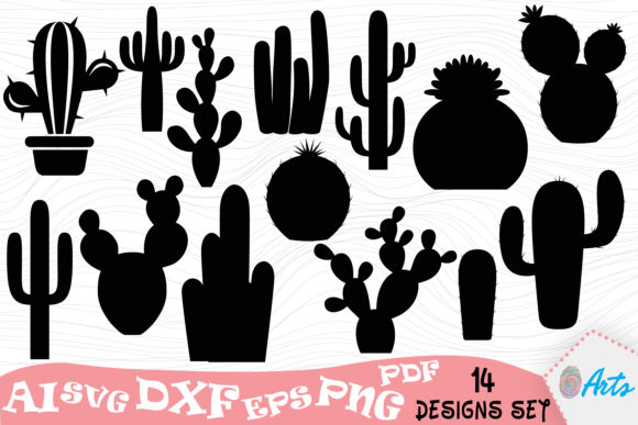 14 Cactus Silhouette Vector Art Designs Graphic Illustrations By DigitEMB
