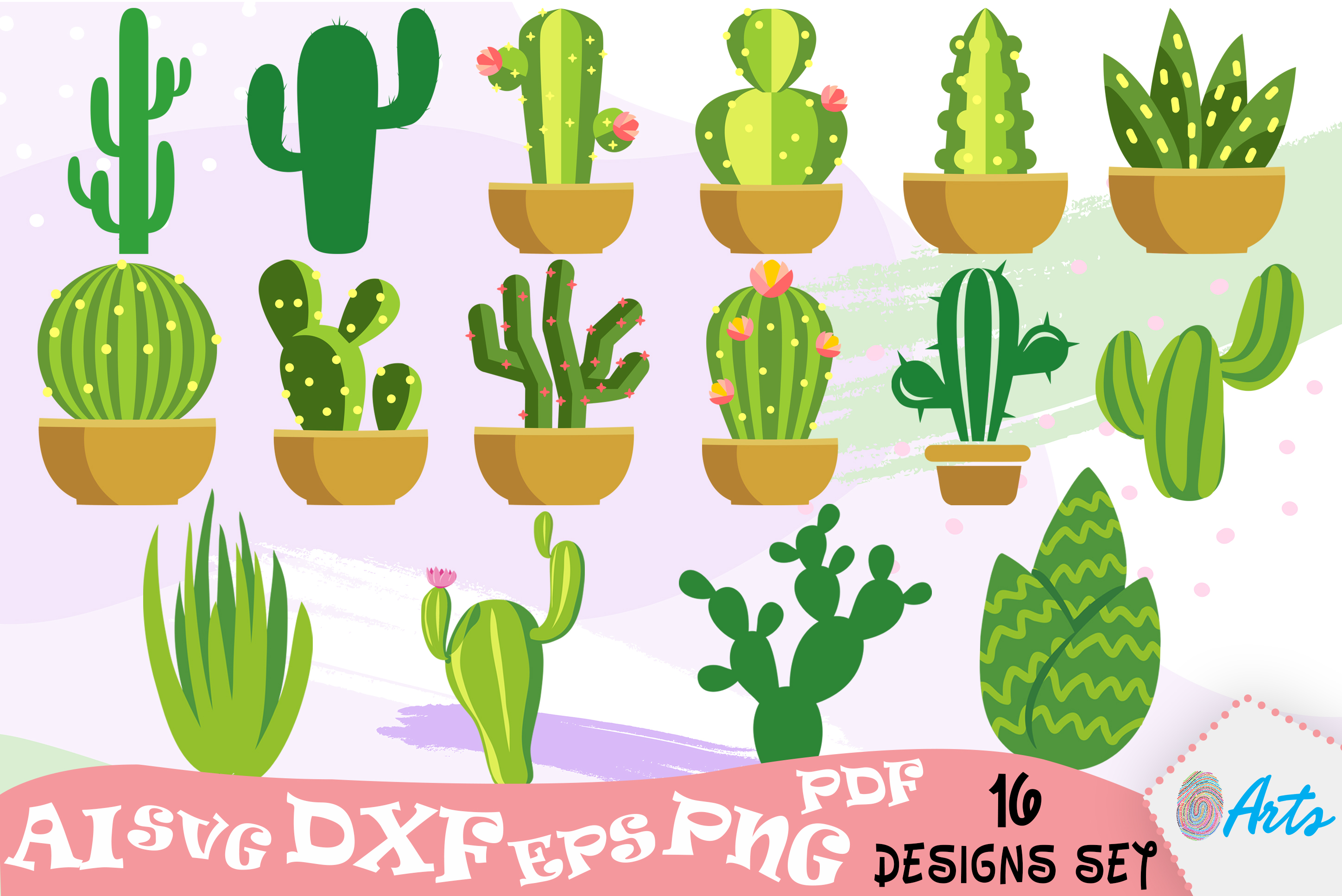 Download Free 16 Cactus Vector Art Designs Graphic By Digitemb Creative Fabrica for Cricut Explore, Silhouette and other cutting machines.