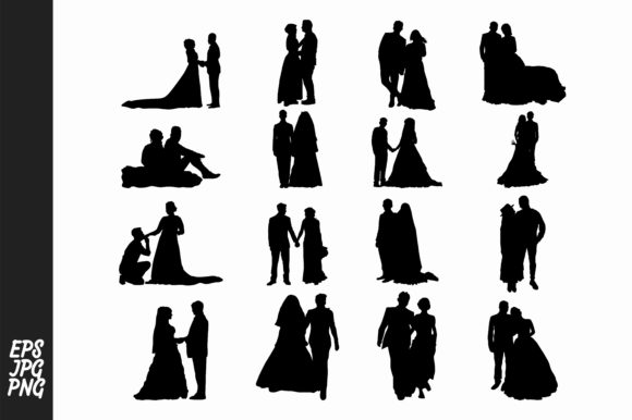 Print on Demand: 16 Wedding Silhouette Clipart Bundle Graphic Crafts By Arief Sapta Adjie