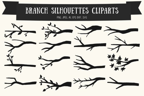 Print on Demand: 20 Branch Silhouettes Handmade Cliparts Graphic Illustrations By Creative Tacos