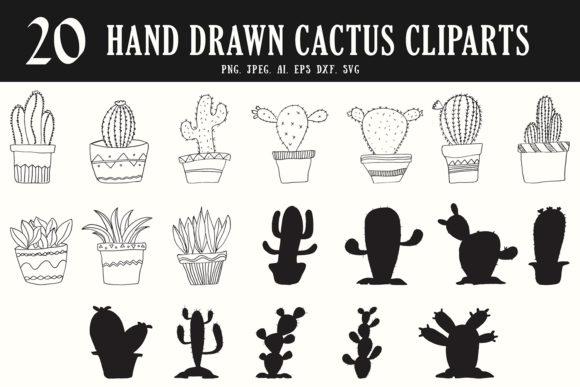 Download Free 20 Handdrawn Cactus Cliparts Graphic By Creative Tacos for Cricut Explore, Silhouette and other cutting machines.