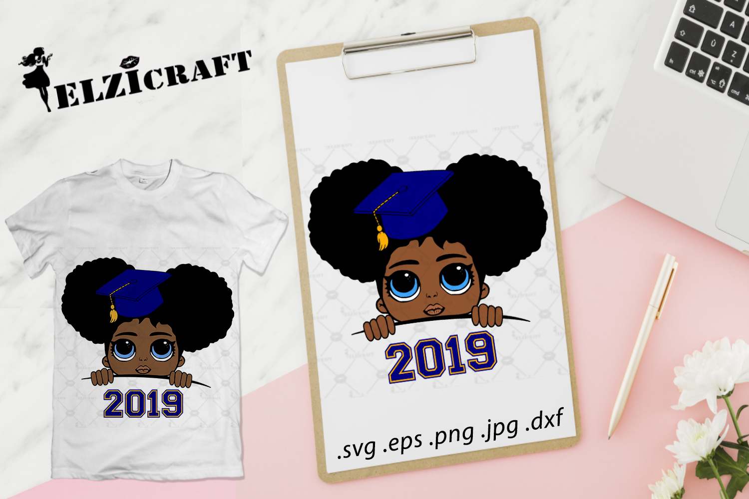 Download Free 2019 Graduated Afro Girl Peeking Design Graphic By Elzicraft for Cricut Explore, Silhouette and other cutting machines.